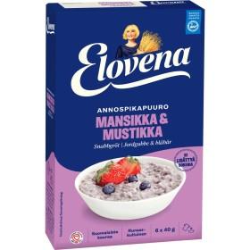 Elovena, Mansikka-Mustikka, Instant-Haferflockenbrei, Erdbeere-Heidelbeere 6x40g