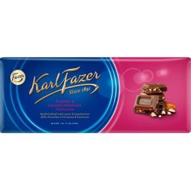 Fazer, Milchschokoladen-Tafel mit Rosinen & Haselnüsse 200g
