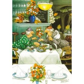 Inge Löök, Postkarte, Frauen in einem Restaurant